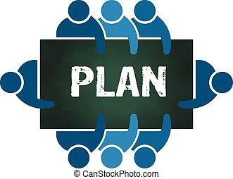 planlægning, gruppe, folk