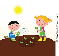 plante, børn, have, planter