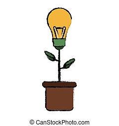 plante pot, skitse, ide, grønne, pære