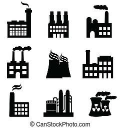 planter, fabrikker, industriel, magt, bygninger