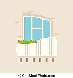 planter, hus, moderne, illustration, vektor, altan