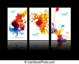 plaske, abstrakt, sæt, farverig, illustrations.