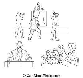 podium, microphones., pictures., stænder, fotografer, public., isoleret, illustration, baggrund., bag efter, vektor, taler, holde, orator, rapport, sort, hvid, gør