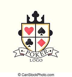 poker, mesterskab, emblem, vinhøst, kasino, klub, illustration, vektor, konstruktion, baggrund, spil, hvid, logo