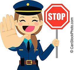 policewoman, stoppe underskriv