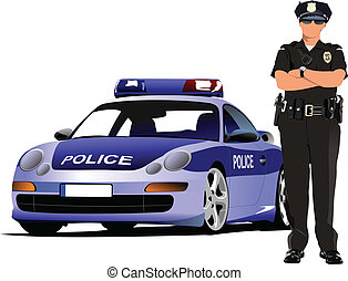 politi kvinde, beliggende