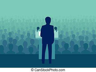 politiker, flok, folk, store, vektor, forretningsmand, eller, tal