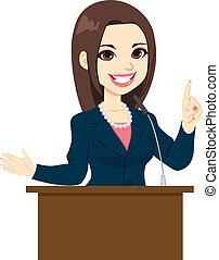 politiker, kvinde, tale