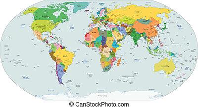 politiske, globale, kort, verden