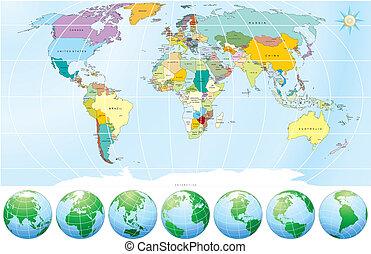politiske, kort, verden