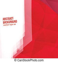 polygons., abstrakt, vektor, rød baggrund