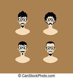 portræt, avatar, cartoon
