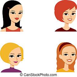 portræt, avatar, kvinde, series