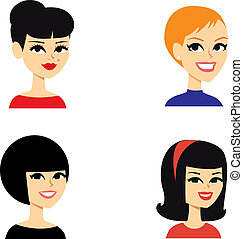 portræt, avatar, kvinder, series