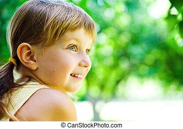 portræt, glade, barn