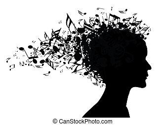 portræt, kvinde, silhuet, musik