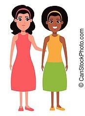 portræt, kvinder, karakter, cartoon, avatar
