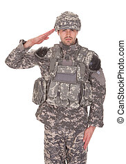 portræt, saluting, militær, mand, jævn