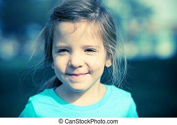 portræt, skære, glade, barn
