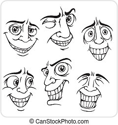 positiv, set., vektor, -, emotions