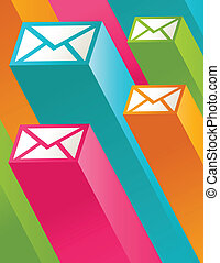 post, 3, farverig, iconerne