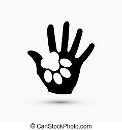 pote, moderne, hånd, vektor, sort, hvid, greb, ikon