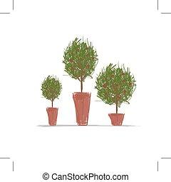 pots, konstruktion, træ, grønne, din