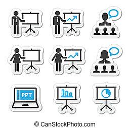 præsentation, ikon, firma, belære