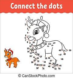practice., coloring, cartoon, lærdom, game., illustration., jul, antal, aktivitet, linje., hæve, vektor, worksheet., book., isoleret, answer., prik, character., deer., kids., håndskrift