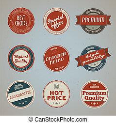 premium, etiketter, sæt, kvalitet