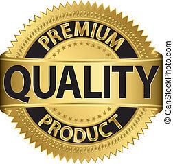 premium, produkt, kvalitet, labe, gylden