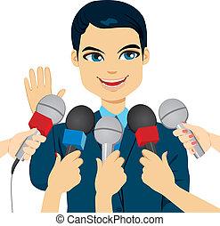 presse, svarer, politiker, spørgsmål