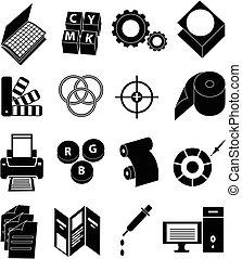 presse, trykning, sæt, iconerne