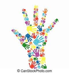printer, baggrund, hånd