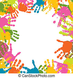 printer, vektor, abstrakt, baggrund, hænder, barn