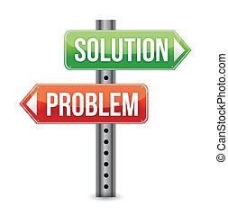 problem, illustra, løsning, vej underskriv