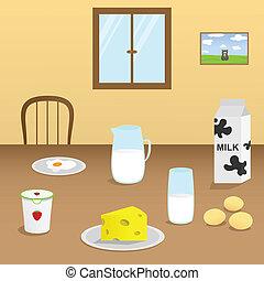 produkter, mejeri, illustration
