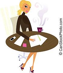 professionel kvinde, arbejde, kontor