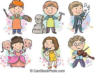 professioner, 2, sæt, børn