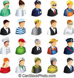 professioner, vektor, sæt, folk, iconerne