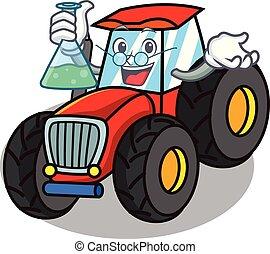 professor, karakter, firmanavnet, traktor, cartoon