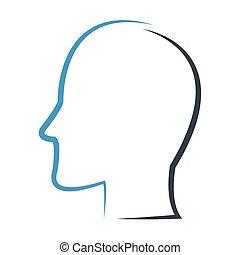 profil, anføreren, udkast, ikon