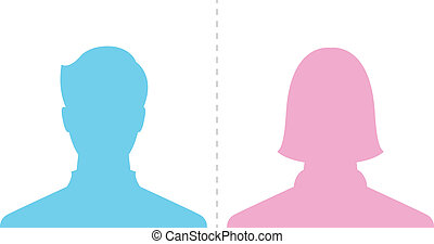 profil, billede, mandlig, kvindelig