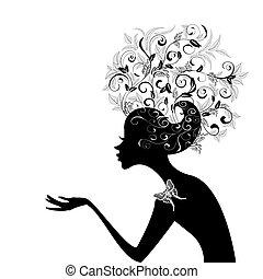 profil, hår, pige, dekorer