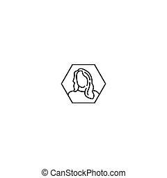 profil, ikon, konstruktion, vektor, kvindelig