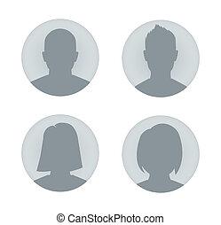 profil, kvinde, bruger, illustration, mand