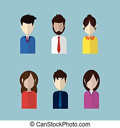 profil, sæt, ikoner branche, billederne, samling, avatars, kvinde, kvindelig, mandlig, mand