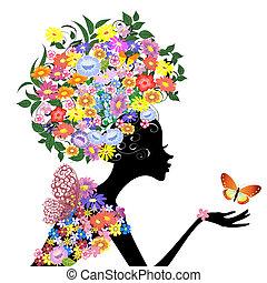 profil, sommerfugl, pige, blomst