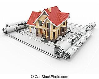 project., beboelses, beboelse, arkitekt, hus, blueprints.