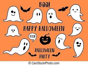 pumpkin, vektor, flagermus, halloween, genfærd, sæt